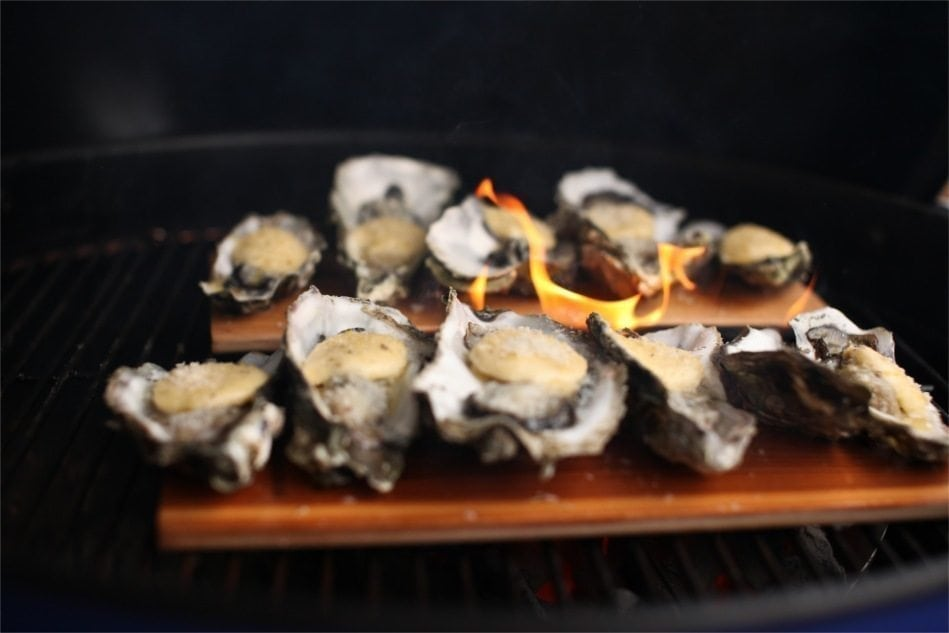 Cedar Planked Oysters with Herbed Lemon Butter Recipe