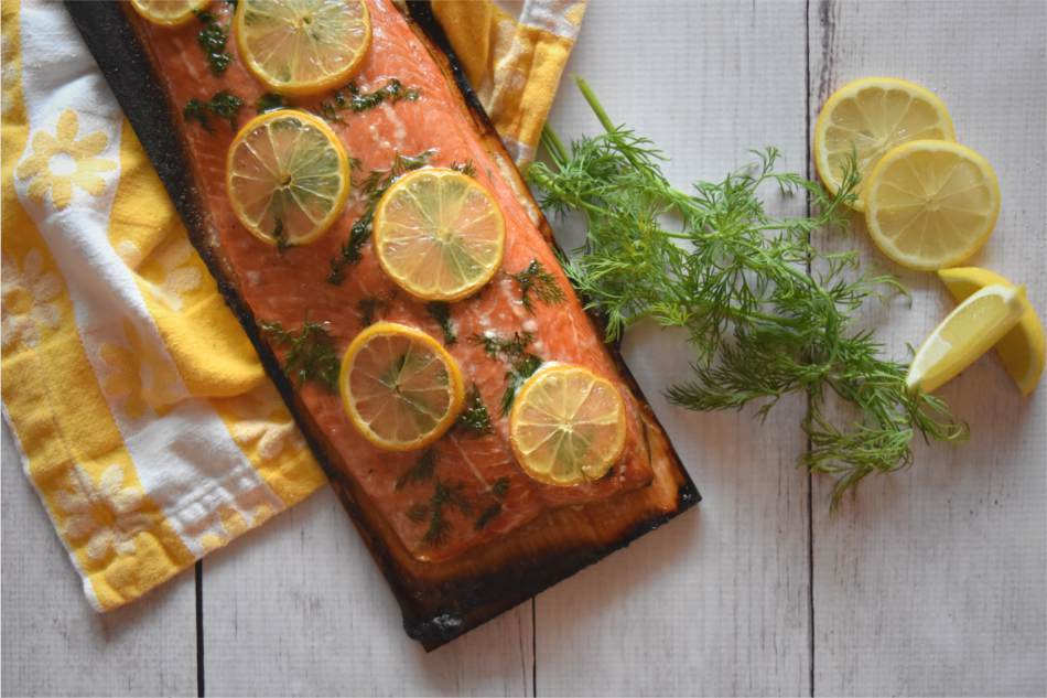 Alder Planked Salmon with Dill and Lemon Recipe