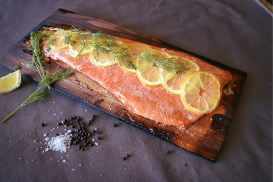 Cedar Planked Copper River Salmon with Lemon and Dill