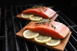 Cedar Planked Salmon on the Grill with Lemon and Thyme